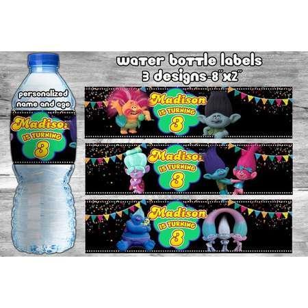 Trolls Water Bottle Labels || Trolls Bottle Labels || Trolls Stickers || Bottle Labels || Bottle Stickers || Personalized thumb