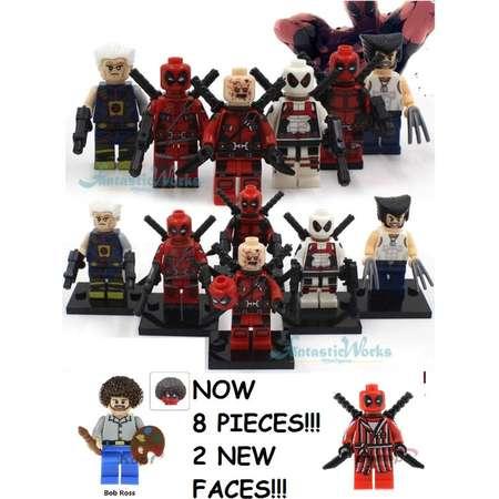Deadpool minifigures pizza face Bob ross Cable Wolverine bathrobe 8 pc set version set superheroes comic book thumb