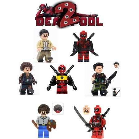 Deadpool 2 minifigures Cable Domino Todd Large 7 pc set xmen training deadpool Bob ross pizza face movie version set superheroes comic book thumb