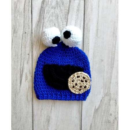 Baby Handmade Crochet Cookie Monster Beanie - Sesame Street thumb