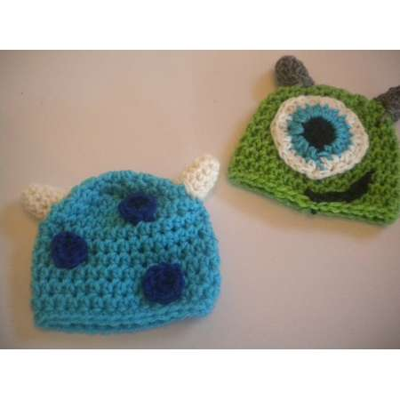 61b2cb38e95 hand crochet monsters Inc. Mike or Sully beanie hat photo prop costume size  newborn to