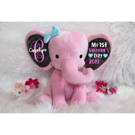 1st Valentine's Day, First Valentine Baby, Valentine Elephant, Baby Valentine Personalized, Baby's 1st, Baby Valentine Plush, Girl Valentine thumb