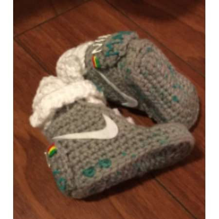 Nike air mags, crochet nike booties, back to the furture, bttf shoes, crochet nikes, knit nikes, baby shower gift, BTTF gift thumb