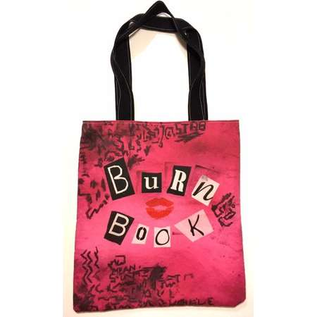 Mean Girls inspired tote bag purse you go glen coco on Wednesday we wear pink burn book fetch plastic high school boo you whore she doesn't thumb
