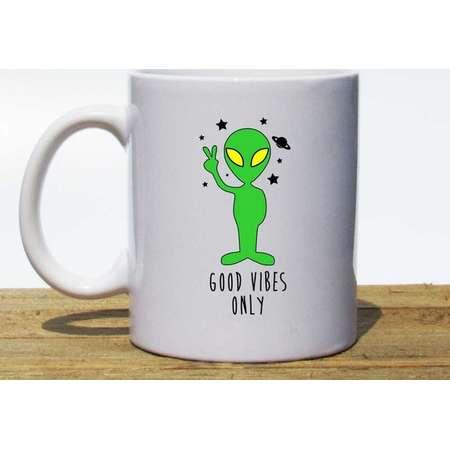 Good Vibes Only Coffee Mug > Alien Coffee Mug > Good Vibes Only Alien > Coffee Mug > Coffee Cup > Green Coffee Mug > Alien Travel Mug thumb