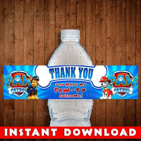 PAW PATROL Digital Instant Download Labels - Birthday Party Water Bottle Wrapper Labels - Paw Patrol Wrap pdf Stickers thumb