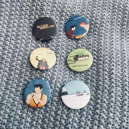 1980'S MOVIE BUTTONS SET of Six Unique Pin Designs Back to the Future Sixteen Candles Breakfast Club Ghostbusters Ferris Butler Stand by Me thumb