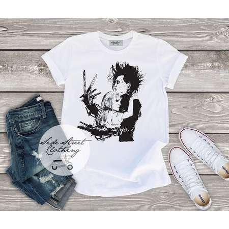 Edward Scissorhands inspired T shirt - baby, toddler, youth, women, men, goth, gothic, me, halloween, punk, Tim burton, Johnny Depp thumb