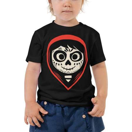 Pixar Coco Miguel Face Graphic T-Shirt -Toddler Short Sleeve Tee -Pixar Coco Tee - Miguel /Coco Skull Pattern T-Shirt -Musical Scene Graphic thumb