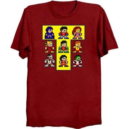 8-Bit Classic TEEN TITANS T-Shirt Retro Style Shirt DC Comics Robin Cyborg Starfire Raven Beast Boy Kid Flash thumb