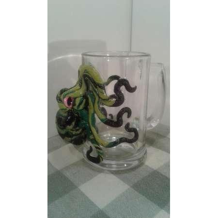 Happy green octopus mug , beer mug , kraken , pirate mug , Cthulhu's pimp cup , mermaid,  ocean , sea monster glass , alien, tentacle mug thumb