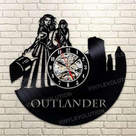 Outlander Wall Clock Christmas Gift Video Game Clock Outlander Vintage Vinyl Record Retro Wall Clock Large Birthday Gift Outlander Clock thumb