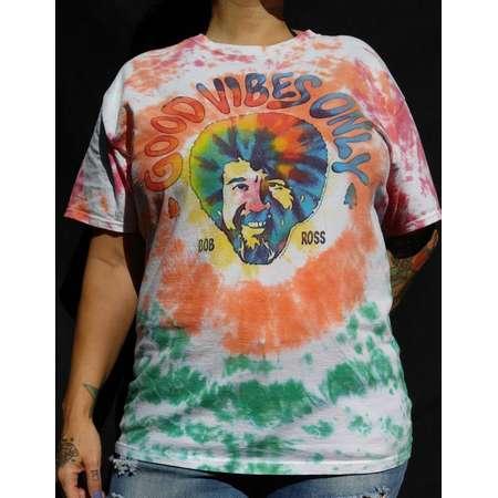 "Bob Ross ""Good Vibes Only"" Tie Dye T-shirt - Unisex - Men's L thumb"