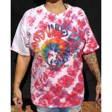 "Bob Ross ""Good Vibes Only"" Tie Dye T-shirt 100% Cotton Unisex Size Men's L thumb"