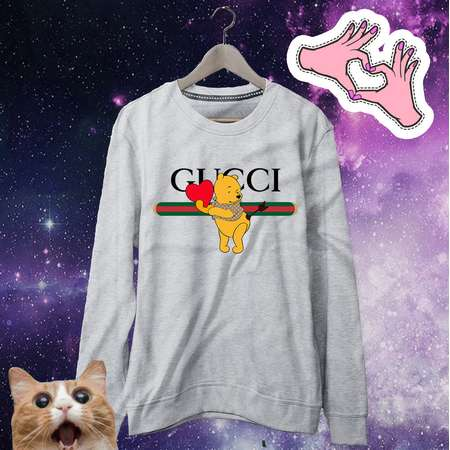 Winnie Pooh Valentine Gucci Sweatshirt | Gucci Inspired | Gucci Man Woman | Disney Valentine Sweater | Valentines Day Gift Winnie Valentine thumb