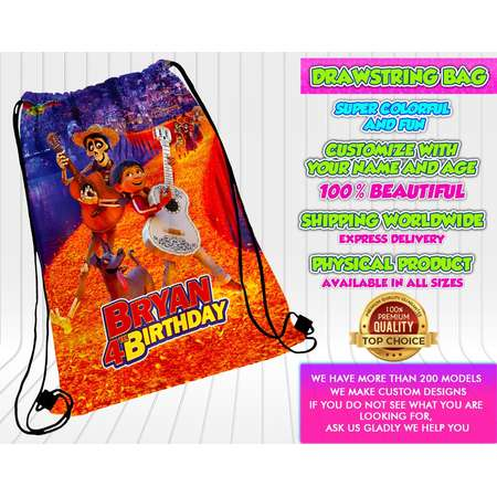 Coco Drawstring Bag, Coco Tote Bag, Coco Backpack, Coco Custom Bag, Coco goodies bag, Coco, Coco Party, Coco Birthaday, Coco Invitation thumb