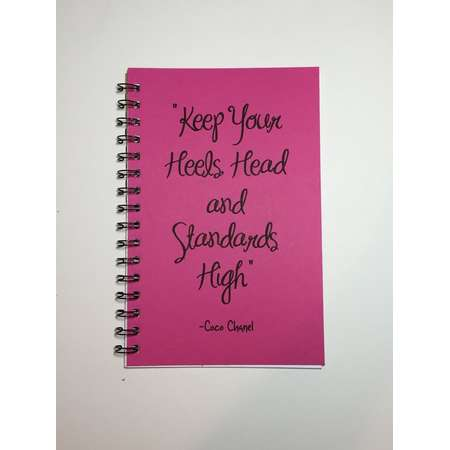 Journal, Keep Your Head Heels and Standards High, Coco Chanel, Inspirational, Motivational Quote, Notebook, Diary, Quote, Custom Gift thumb