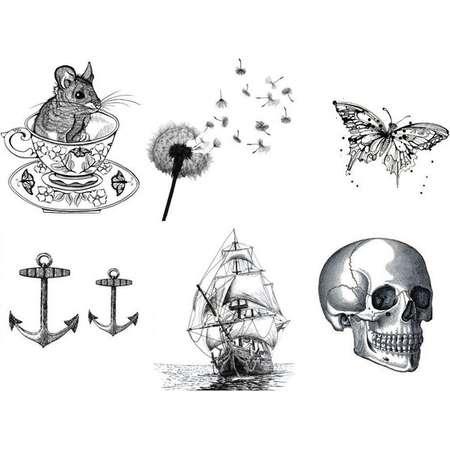 Temporary Tattoo - Vintage Items 1/2 sheet - Set of 6 / Tattoo Flash thumb
