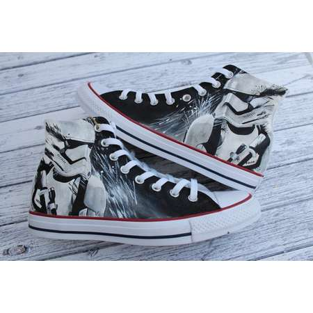 9dbbca57ff6373 Custom Painted Star Wars Stormtrooper inspired Converse Hi Tops shoes  sneakers In all sizes.