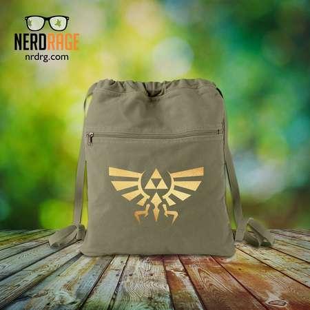 Zelda Canvas Cinch Bag, The Legend of Zelda Cotton Canvas Bag, Gold Emblem Backpack, Gift for Him, Gift for Her, Zelda Drawstring Backpack thumb