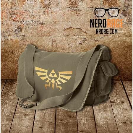 Zelda Canvas Messenger Bag, The Legend of Zelda Cotton Canvas Bag, Gold Emblem Shoulder Bag, Gift for Him, Gift for Her, Crossbody Bag thumb