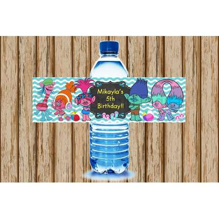 PERSONALIZED- Trolls Water Bottle Labels- Pool Party Water Bottle Labels- Trolls Labels- Print Your Own-Digital Image thumb