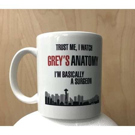 Trust Me I Watch Grey's Anatomy I'm Basically A Surgeon Coffee Mug Meredith Grey Cristina Yang TV Show Cup Funny Humor Gray's Gift Idea thumb