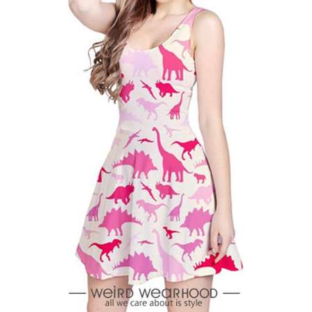 Pink Reversible Sleeveless Party Dress Onepiece with Dinosaur Painting Design (Jurassic Park Edition) thumb