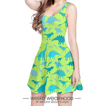 Apple Green Blue Reversible Sleeveless Party Dress Onepiece with Dinosaur Painting Design (Jurassic Park Edition) thumb