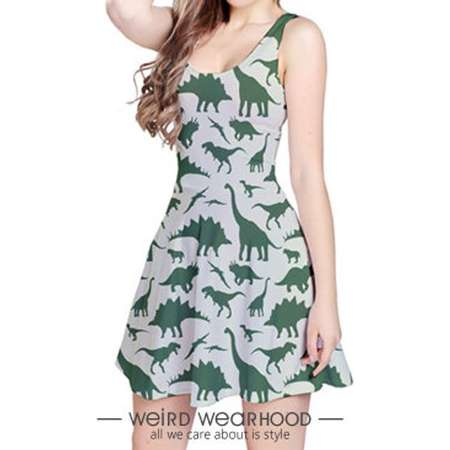Army Green Reversible Sleeveless Party Dress Onepiece with Dinosaur Painting Design (Jurassic Park Edition) thumb