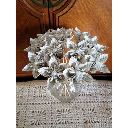 1 Dozen Outlander Book Page Kusudama Flowers -12 Paper Roses - Wedding - Birthday - Book Page Flowers - Book Decor - Book Art thumb