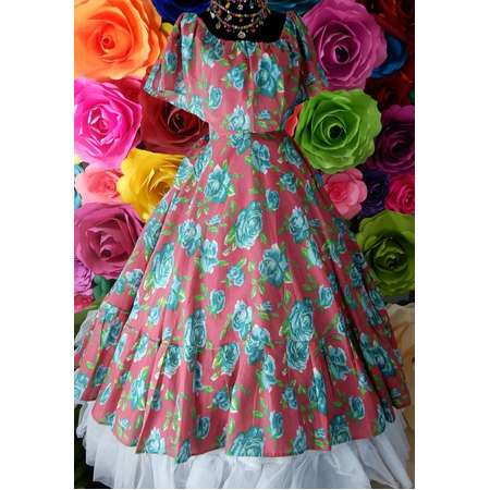 Mexican PINK  dress with top  Handmade- Beautiful- Frida Kahlo style- womans  mexican boho   coco theme party  day of the dead costume thumb