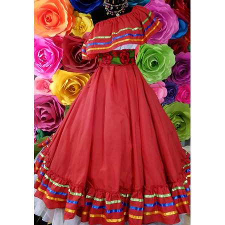 Mexican red  dress with top  Handmade- Beautiful- Frida Kahlo style- womans  mexican boho coco theme party  day of the dead costume 90CM thumb