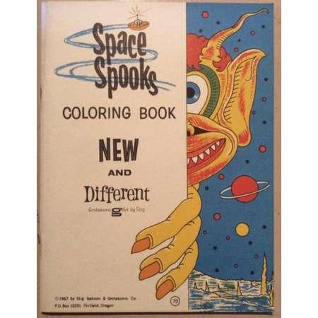 1967 space spooks alien coloring book nos mint thumb