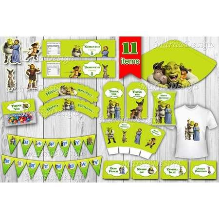 Shrek Party Package,  Shrek Printable kit, Shrek Party Supplies, Shrek Printable, Shrek decoration, Shrek Birthday Kit - ONLY FILES thumb