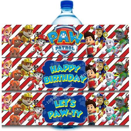 Paw Patrol Water Bottle Label Printable INSTANT DOWNLOAD - Paw Patrol Bottle Labels - Paw Patrol - Paw Patrol Party Bottle Labels thumb