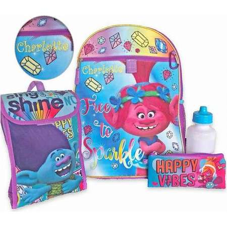 """Personalized 16"""" Trolls Backpack with Bonus Lunch Bag, Water Bottle, Pencil Case, and Carabiner Clip thumb"""