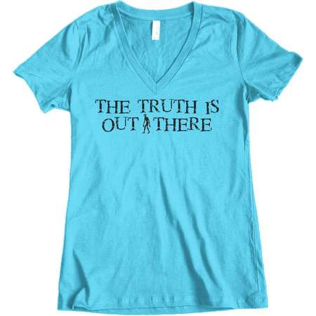 Women's The Truth Is Out There X-Files Alien Junior Fit V-Neck T-Shirt thumb