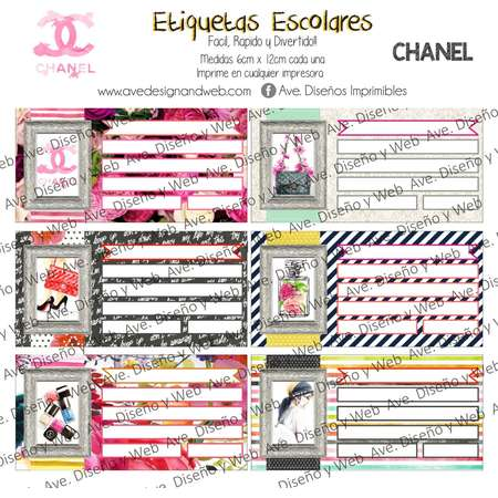 Coco Chanel Labels for notebook, Coco Chanel Labels for books, Fashion Labels thumb