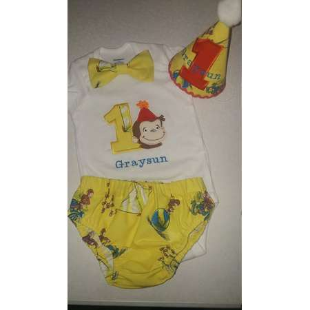Curious George cake smash outfit, First Birthday outfit, Birthday Boy cake smash Outfit, Cat in the Hat Birthday outfit thumb