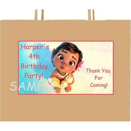 18 Personalized Baby Moana inspired Party Stickers,Birthday favors, goody bag labels,tags, decorations,supplies,Custom Made thumb
