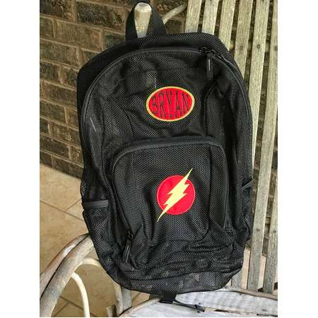 Monogrammed Backpack | Mesh Backpack | Back to School | Flash Backpack | Boys BackpacK | The Flash Backpack | Embroidered Mesh Backpack thumb