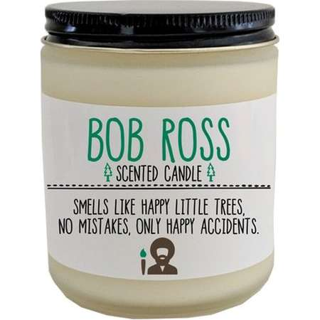 Bob Ross Scented Candle Bob Ross Gift Happy Little Trees Artist Gift for Friend No Mistakes Only Happy Accidents Funny Candle Holiday Gift thumb