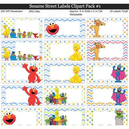 Sesame Street Labels Clipart Pack - Elmo Party Food Labels, Cookie Monster, Big Bird, Grover, Bert Ernie, Oscar, Abby Cadabby, Book Labels thumb