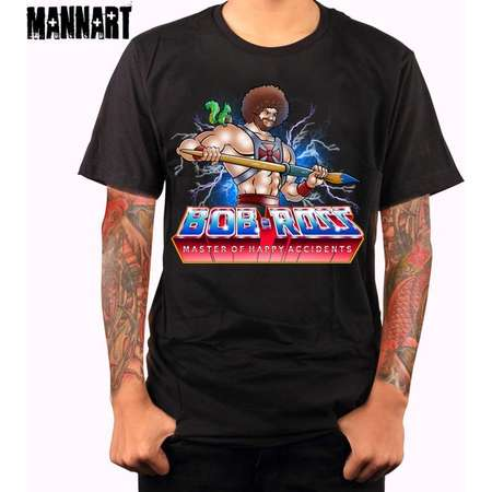 FREE U.S. SHIPPING | Master Of Happy Accidents | Unisex/Ladies Fit T-shirt | Bob Ross | Masters Of The Universe | He-Man thumb
