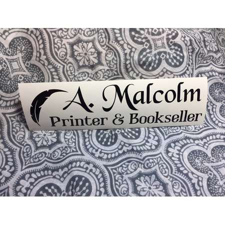 Outlander JAMMF A. Malcolm Printer & Bookseller - Vinyl Car Decal Bumper Sticker thumb