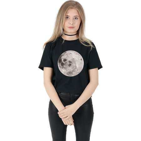 Full Moon T-shirt Top Shirt Tee Fashion Blogger Space Alien Head Grunge thumb