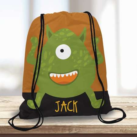 Friendly Alien Monster Halloween Personalized Drawstring Trick or Treat Candy Goodie Goody Bag Backpack Sack Custom Tote Bag Child thumb