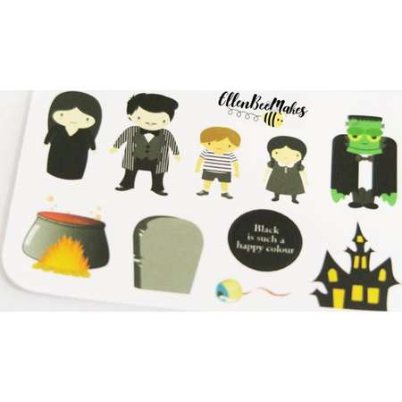 Adams Family, Halloween, Themed Stickers for planners, journaling, scrapbooking thumb