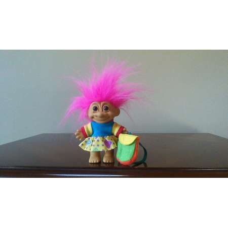 "Vintage Russ Troll Doll First Day of School with Backpack Pink Hair Trolls 5"" Back to School Gift Present thumb"